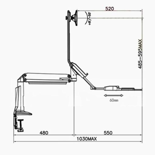 E1 Monitor Arm Keyboard Tray